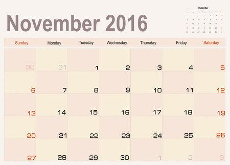 planning calendar: Vector planning calendar November 2016 Illustration