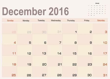 scheduler: Vector planning calendar December 2016