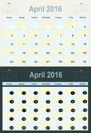 agenda year planner: Vector planning calendar April 2016