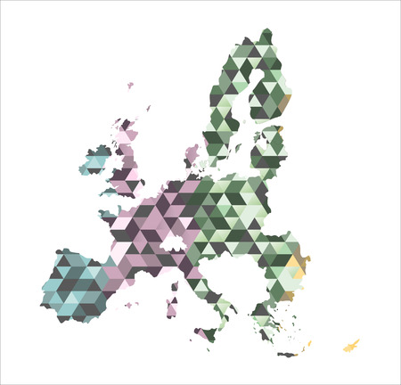 The European Union map in polygonal style. Vector Illustration