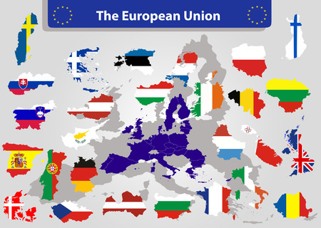 The European Union map and all the countries flags of the member countries of the European Union overlaid on outline map
