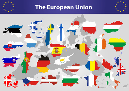 all european flags: The European Union map and all the countries flags of the member countries of the European Union overlaid on outline map