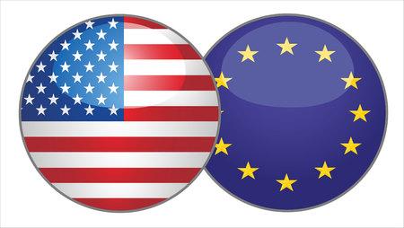 flags america: Estados Unidos de América y la Unión Europea botón de bandera contra el fondo del mapa del mundo.