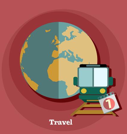 sunglasses recreation: Flat design style modern vector illustration of traveling on train. Vector illustration.