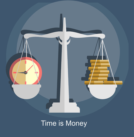 affluence: Scale weighing money and time. Business concept flat style vector.