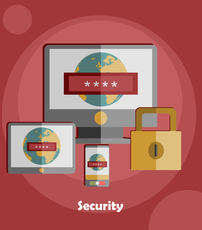 password security: Vector internet security concepts and icons in flat style - identification and protection with password Password security window