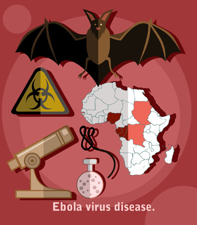 ebola: Ebola virus flat style icons. Illustration