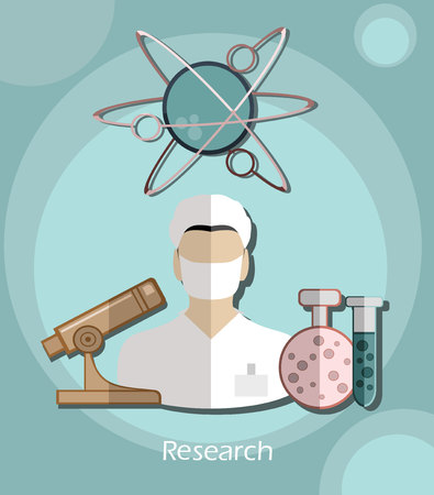 researcher: Vector flat icon successful man researcher with a microscope in a flat design style for business, research, teaching in school or college, work, market research, search for the right decisions