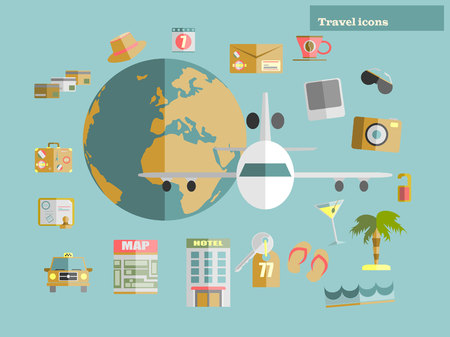 sunglasses recreation: Flat design style modern vector illustration icons set of traveling on ship. Vector illustration.