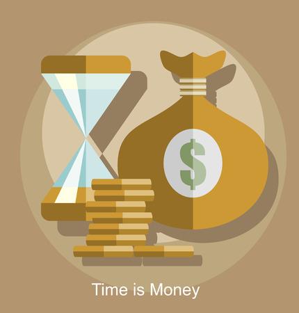 affluence: Time is money business concept in modern flat design vector illustration.