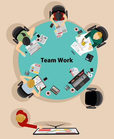 Team work with Flat style. A lot of design elements are included: computers, mobile devices, desk supplies, pencil, coffee mug, sheets, documents and so on