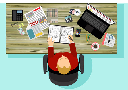 Office workplace. Business man working with laptop and documents, top view. Flat design illustration