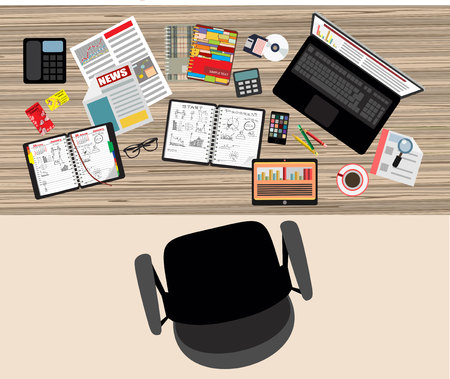 Set of Flat design illustration of modern business office and workspace. Top view of desk background with laptop, digital devices, office objects with notepad