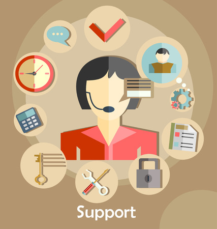 technical assistant: Flat design illustration with icons. Technical support assistant