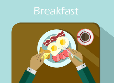 top menu: Breakfast set top view. Coffee, fried egg, bacon. Morning breakfast menu in flat style Illustration