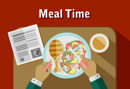 meal time: Food meal time top view concept flat icon