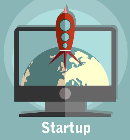 deploy: Flat design colored illustration of space rocket flying around Earth, concept for business startup Illustration