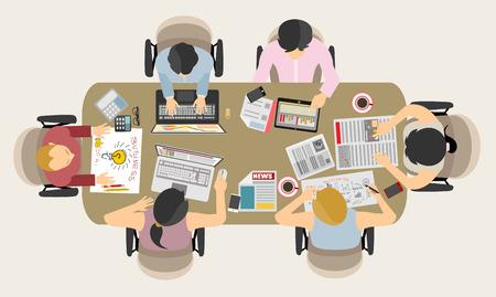 Praca zespołowa w stylu Flat. Zawiera wiele elementów: komputery, urządzenia mobilne, materiały biurowe, ołówek, kubek do kawy, arkusze, dokumenty i tak dalej