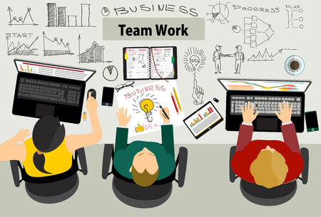 computer work: Team work with Flat style. A lot of design elements are included: computers, mobile devices, desk supplies, pencil, coffee mug, sheets, documents and so on Illustration