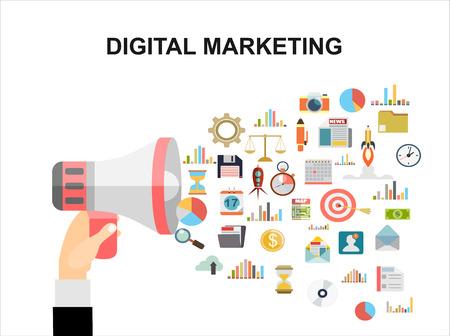 Flat design illustration concept for digital marketing. Concept for web banner and promotional material.