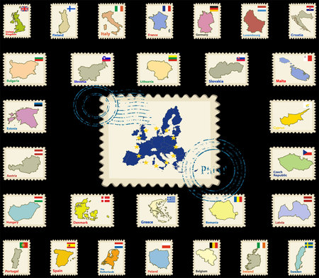 Vector postmark with map of the European Union and all the countries flags of the member countries of the European Union.