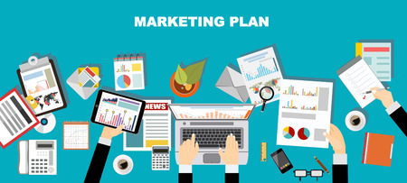 web marketing: Set of flat design illustration concepts for business plan and marketing plan. Concepts for web banner and promotional material. Illustration