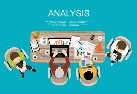consulting team: Flat design illustration concepts for business analysis and planning, financial strategy, consulting, project management and development. Concept to building successful business Illustration