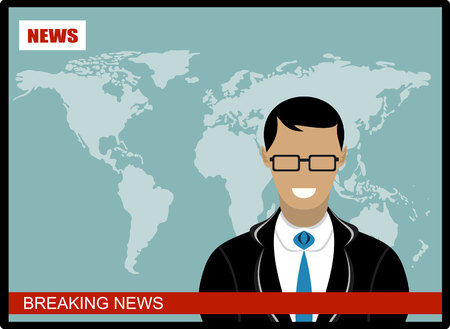 news reader: Breaking news - News announcer in the studio - vector