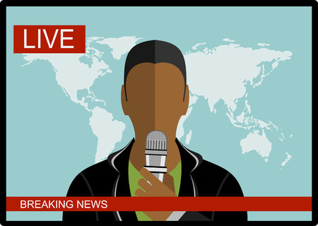 announcer: Breaking news - News announcer in the studio - vector