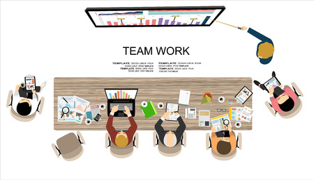Team work with Flat style. A lot of design elements are included: computers, mobile devices, desk supplies, pencil, coffee mug, sheets, documents and so on Vector Illustration