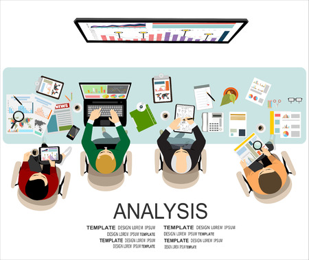 Flat design illustration concepts for business analysis and planning, financial strategy, consulting, project management and development. Concept to building successful business Ilustrace