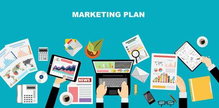 Conjunto de conceptos de diseño ilustración planas para el plan de negocio y plan de marketing. Conceptos para la bandera de la tela y material promocional