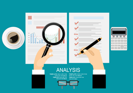 marketing research: Concepts for business planning and accounting, analysis, audit, project management, marketing, research in flat design style.