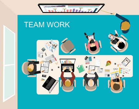 social web: Flat design illustration concepts for business analysis and planning, consulting, team work, project management, financial report and strategy. Concepts web banner and printed materials.