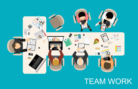 project team: Flat design illustration concepts for business analysis and planning, consulting, team work, project management, financial report and strategy. Concepts web banner and printed materials.