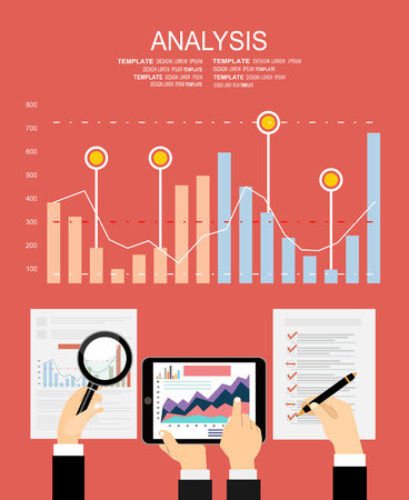business analysis: Flat design illustration concepts for business analysis and planning, financial strategy, consulting, project management and development. Concept to building successful business Illustration