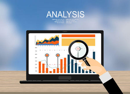 social web: Concepts for business planning and accounting, analysis, audit, project management, marketing, research in flat design style. Laptop on wooden table showing charts and graph, Business Analysis