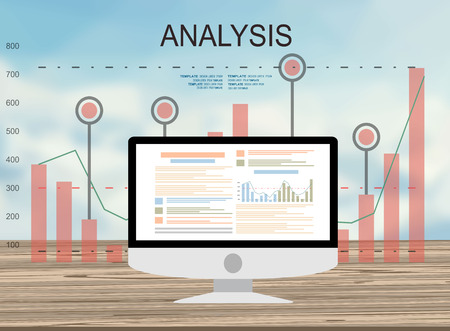 resource management: Concepts for business planning and accounting, analysis, audit, project management, marketing, research in flat design style. Laptop on wooden table showing charts and graph, Business Analysis