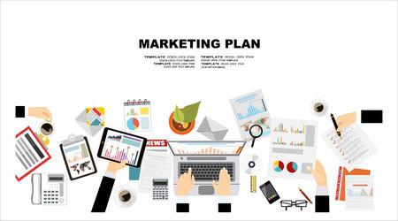 web marketing: Flat design illustration concepts for business plan and marketing plan. Concepts for web banner and promotional material.