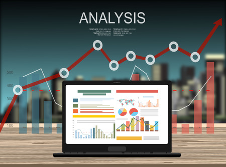 accounting design: Concepts for business planning and accounting, analysis, audit, project management, marketing, research in flat design style. Laptop on wooden table showing charts and graph, Business Analysis