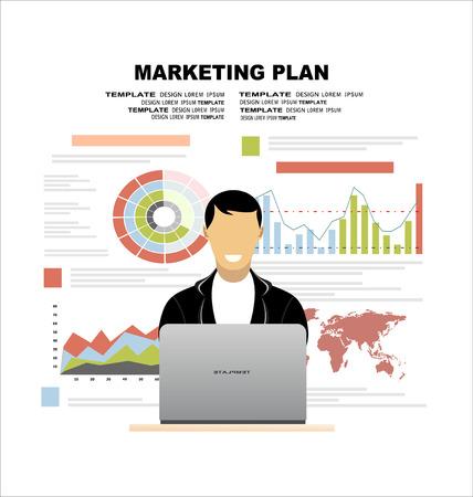 conceptos de diseño ilustración planas para el plan de negocio y plan de marketing. Conceptos para la bandera de la tela y material promocional.