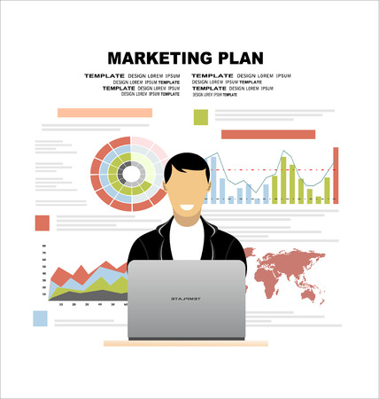 Platte ontwerp illustratie concepten voor business plan en marketing plan. Concepten voor web banner en promotiemateriaal. Vector Illustratie
