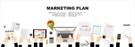 Set of flat design illustration concepts for business plan and marketing plan. Concepts for web banner and promotional material. Vektoros illusztráció