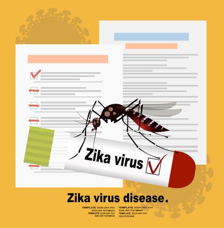Blood sample positive with Zika virus. Flat design illustration Illustration
