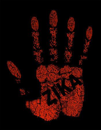 Zika Virus written on handprint. Illustration