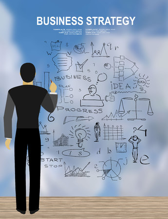 back view student: Concepts for business planning and accounting, analysis, team work, audit, project management, marketing. Back view image of businessman drawing sketches Illustration