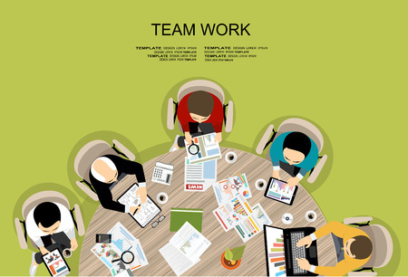 business work: Flat design illustration concepts for business analysis and planning, consulting, team work, project management, financial report and strategy. Concepts web banner and printed materials.