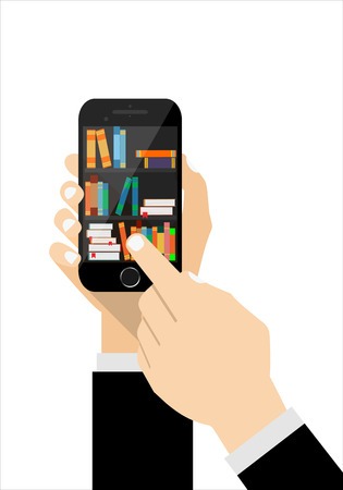 digital library: Human hand chooses e Books in the Internet books store in smartphone, digital library conceptual vector illustration.