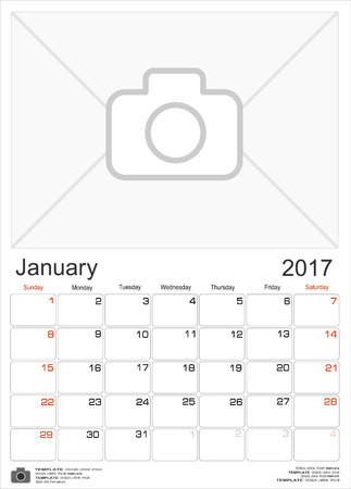 portrait orientation: Wall Monthly Calendar for January 2017 Year. Vector Design Print Template with Place for Photo. Week Starts Sunday. Portrait Orientation.