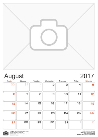 portrait orientation: Wall Monthly Calendar for August 2017 Year. Vector Design Print Template with Place for Photo. Week Starts Sunday. Portrait Orientation. Illustration